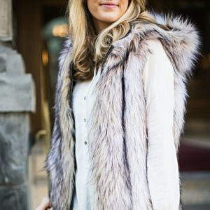 Grey Faux Fur Loft Vest